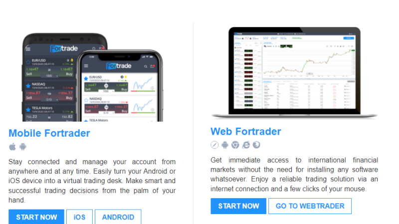 Fortrade Webfortrader platform