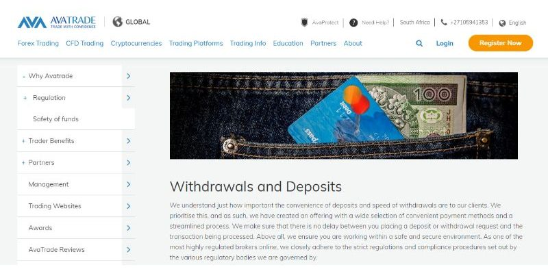 AvaTrade Withdrawal Deposit